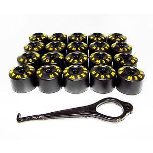 Kit-Capa-de-Parafuso-VW-Chave-17-Letras-Amarela-20-pecas