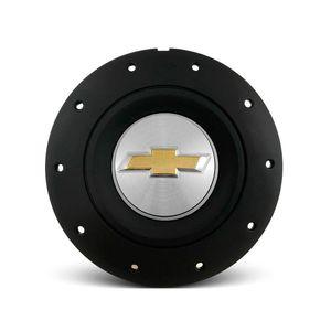 Calota-Centro-Roda-Ferro-VW-Amarok-Aro-13-14-15-4-Furos--Preta-Fosca-Emblema-GM-Prata