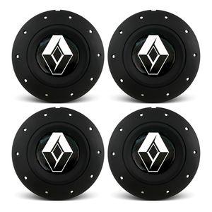 Jogo-4-Calota-Centro-Roda-Ferro-VW-Amarok-Aro-13-14-15-4-Furos--Preta-Fosca-Emblema-Renault-Preta