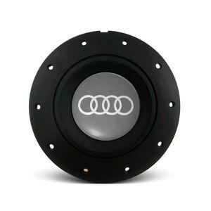 Calota-Centro-Roda-Ferro-VW-Amarok-Aro-13-14-15-4-Furos-Preta-Fosca-Emblema-Audi