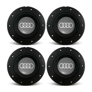 Jogo-4-Calota-Centro-Roda-Ferro-VW-Amarok-Aro-13-14-15-4-Furos-Preta-Fosca-Emblema-Audi-Cinza