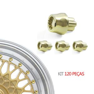 Kit-120-Rebite-Estriado-Conico-Dourado--MODELO-Nº-08----BBS-BRW