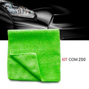 Kit-250-Pano-microfibra-automotiva-flanela-anti-risco-toalha-Verde