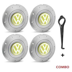 Calota-centro-Roda-Amarok-5-Furos-Prata-Com-Chave-Para-Remocao-Emblema-Volkswagen-VW-Amarelo-4a