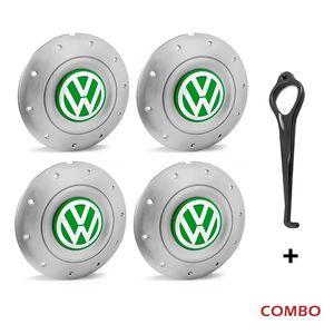 Calota-centro-Roda-Amarok-5-Furos-Prata-Com-Chave-Para-Remocao-Emblema-Volkswagen-VW-Verde-4a