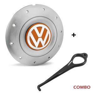 Calota-centro-Roda-Amarok-5-Furos-Prata-Com-Chave-Para-Remocao-Emblema-Volkswagen-VW-Laranja-1a