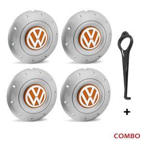 Calota-centro-Roda-Amarok-5-Furos-Prata-Com-Chave-Para-Remocao-Emblema-Volkswagen-VW-Laranja-4a