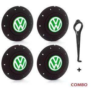 Calota-centro-Roda-Amarok-5-Furos-Preta-Com-Chave-Para-Remocao-Emblema-Volkswagen-VW-Verde-4a