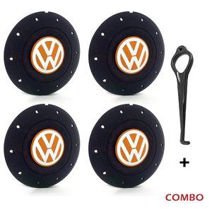 Calota-centro-Roda-Amarok-5-Furos-Preta-Com-Chave-Para-Remocao-Emblema-Volkswagen-VW-Laranja-4a