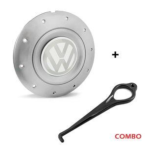 Calota-Centro-Roda-Amarok-5-Furos-Prata-Emblema-Volkswagen-VW-Branco-com-Chave-de-Remocao-1a