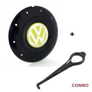 Calota-Centro-Roda-Amarok-4-Furos-Aro-13-14-15-Preta-Brilhante-Emblema-Volkswagen-VW-Amarelo-Com-Chave-Para-Remocao-1a