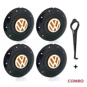 Calota-Centro-Roda-Amarok-4-Furos-Aro-13-14-15-Preta-Brilhante-Emblema-Volkswagen-VW-Laranja-Com-Chave-Para-Remocao-4a