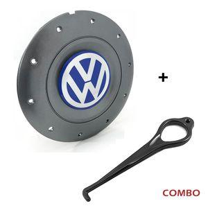 Calota-Centro-Roda-Amarok-5-Furos-Grafite-Emblema-Volkswagen-VW-Azul-Com-Chave-Para-Remocao-1a
