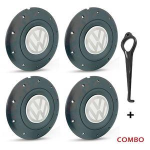 Calota-Centro-Roda-Amarok-5-Furos-Grafite-Emblema-Volkswagen-VW-Branco-Com-Chave-Para-Remocao-4a