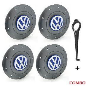 Calota-Centro-Roda-Amarok-5-Furos-Grafite-Emblema-Volkswagen-VW-Azul-Com-Chave-Para-Remocao-4a