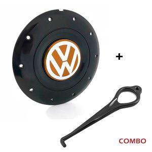 Calota-Centro-Roda-Amarok-5-Furos-Preta-Brilhante-Emblema-Volkswagen-VW-Laranja-Com-Chave-Para-Remocao-1a