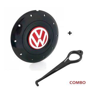 Calota-Centro-Roda-Amarok-5-Furos-Preta-Brilhante-Emblema-Volkswagen-VW-Vermelho-Com-Chave-Para-Remocao-1a