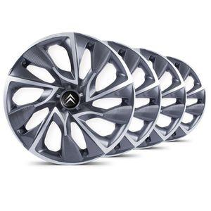 Jogo-Calota-DS4-Sport-Cup-Emblema-Preto-Citroen-Berlingo-C3-C4-Hacth-C4-VTR-C5-Picasso-Xantia-Xsara