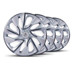 Jogo-Calota-DS4-Aro-14-Silver-Cup-Emblema-Prata-Citroen-Berlingo-C3-C4-Hacth-C4-VTR-C5-Picasso-Xantia-Xsara