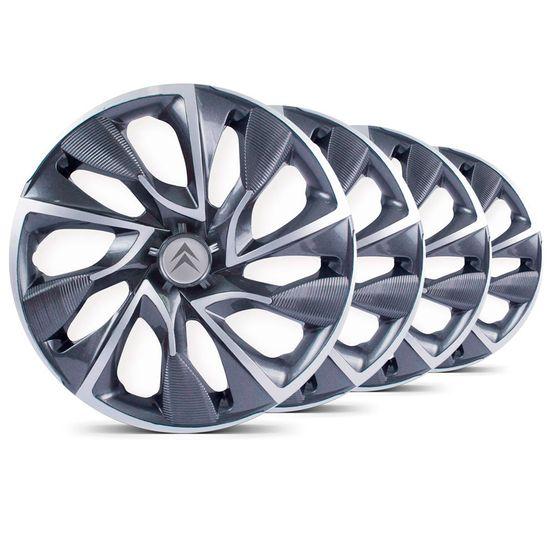 Jogo-Calota-DS4-Sport-Cup-Aro-15-Emblema-Prata-Citroen-Berlingo-C3-C4-Hacth-C4-VTR-C5-Picasso-Xantia-Xsara