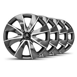 Jogo-Calota-Prime-Grafite-Prata-Aro-14-Emblema-Preto-Citroen-Berlingo-C3-C4-Hacth-C4-VTR-C5-Picasso-Xantia-Xsara