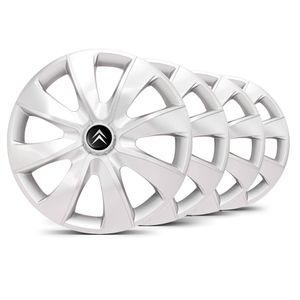 Jogo-Calota-Prime-Unicolor-Prata-Aro-13-Emblema-Preto-Citroen-Berlingo-C3-C4-Hacth-C4-VTR-C5-Picasso-Xantia-Xsara