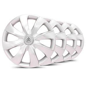 Jogo-Calota-Prime-Unicolor-Prata-Aro-14-Emblema-Prata-Citroen-Berlingo-C3-C4-Hacth-C4-VTR-C5-Picasso-Xantia-Xsara