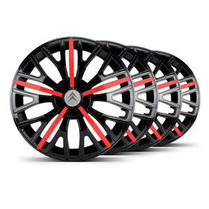 Jogo-Calota-Triton-Sport-Aro-14-Preta-Vermelha-Emblema-Prata-Citroen-Berlingo-C3-C4-Hacth-C4-VTR-C5-Picasso-Xantia-Xsara