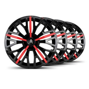 Jogo-Calota-Triton-Sport-Aro-14-Preta-Vermelha-Emblema-Preto-Citroen-Berlingo-C3-C4-Hacth-C4-VTR-C5-Picasso-Xantia-Xsara