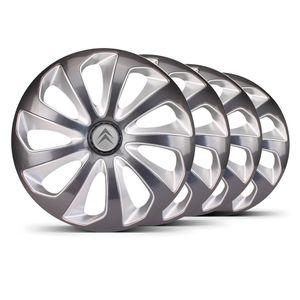 Jogo-Calota-Velox-Aro-14-Grafite-Prata-Emblema-Prata-Citroen-Berlingo-C3-C4-Hacth-C4-VTR-C5-Picasso-Xantia-Xsara