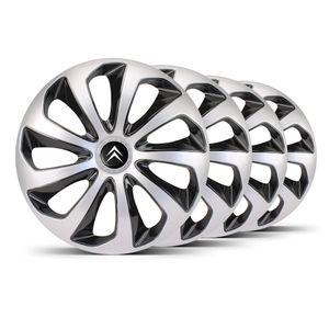 Jogo-Calota-Velox-Aro-14-Prata-Preta-Emblema-Preto-Citroen-Berlingo-C3-C4-Hacth-C4-VTR-C5-Picasso-Xantia-Xsara