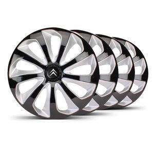 Jogo-Calota-Velox-Aro-14-Preta-Prata-Emblema-Preto-Citroen-Berlingo-C3-C4-Hacth-C4-VTR-C5-Picasso-Xantia-Xsara