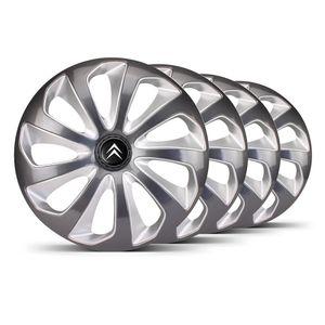 Jogo-Calota-Velox-Aro-15-Grafite-Prata-Emblema-Preto-Citroen-Berlingo-C3-C4-Hacth-C4-VTR-C5-Picasso-Xantia-Xsara
