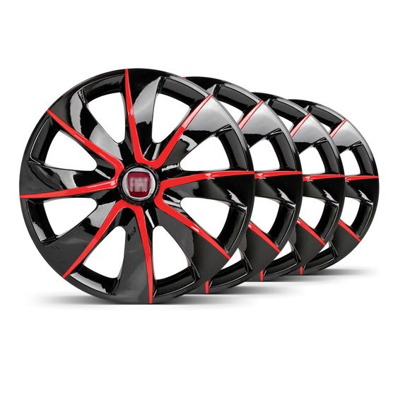 Jogo-4-Calota-Prime-Aro-14-Preta--Vermelha-Fiat-Vermelho