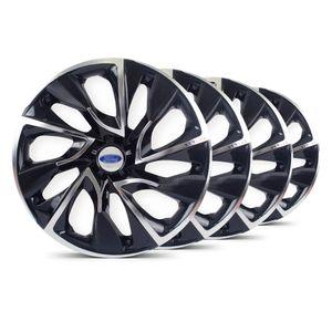 Jogo-Calota-DS4-Preta-Cromada-Aro-14-Ford-Prata