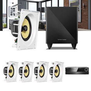 Kit-Home-Theater-5.1-JBL-Receiver-AVR-1510S---Caixa-Embutir-Teto-CI8SA---Sub-210-Residencial-Gesso-1a