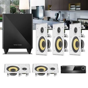 Kit-Home-Theater-5.1-JBL-Receiver-AVR-1510S---Caixa-de-Embutir-Teto-CI6R---Sub-210-Residencial-Gesso--1a