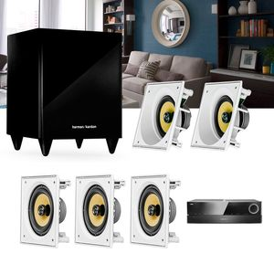 Kit-Home-Theater-5.1-JBL-Receiver-AVR-1510S---Caixa-Embutir-Ci6S---Ci6SA---Sub-210-Residencial-Gesso--1a
