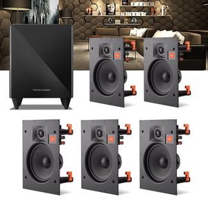 Kit-Home-Theater-5.1-JBL-Caixa-de-Embutir-Teto-Arena-8IW---Sub-210-Residencial-Gesso-01