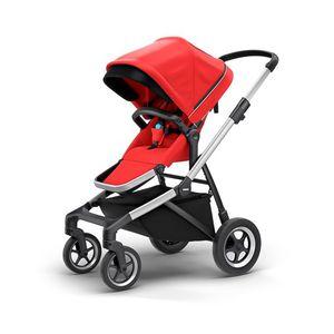 Carrinho-de-Bebe-Thule-Sleek-Vermelho-e-Prata-4-Rodas---Modelo-11000004-01