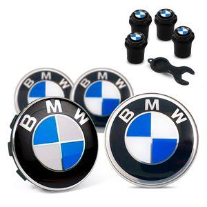 Jogo-4-Calota-Centro-Roda-Original-BMW---Bicos-Pretos-Emblema-Azul-04