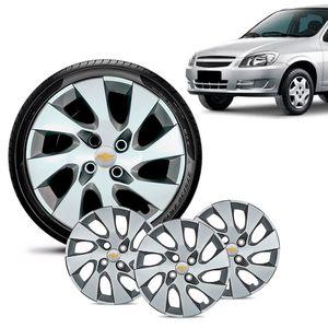 Jogo-4-Calota-Chevrolet-GM-Celta-Aro-13-Prata-Emblema-Prata