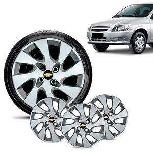 Jogo-4-Calota-Chevrolet-GM-Celta-Aro-13-Prata-Emblema-Preto