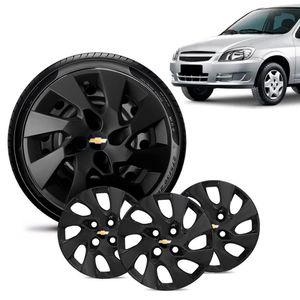 Jogo-4-Calota-Chevrolet-GM-Celta-Aro-13-Preta-Fosca-Emblema-Preto