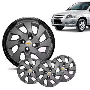 Jogo-4-Calota-Chevrolet-GM-Celta-Aro-13-Grafite-Fosca-Emblema-Prata