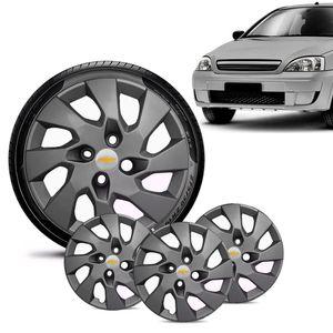 Jogo-4-Calota-Chevrolet-GM-Corsa-Wind-Aro-13-Grafite-Fosca-Emblema-Prata