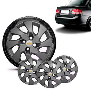 Jogo-4-Calota-Chevrolet-GM-Corsa-Sedan-Aro-13-Grafite-Fosca-Emblema-Prata