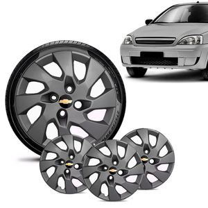 Jogo-4-Calota-Chevrolet-GM-Corsa-Wind-Aro-13-Grafite-Fosca-Emblema-Preto