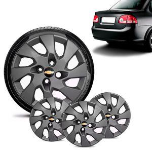Jogo-4-Calota-Chevrolet-GM-Corsa-Sedan-Aro-13-Grafite-Fosca-Emblema-Preto