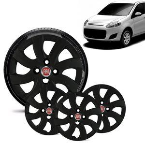 Jogo-4-Calota-Fiat-Palio-Attractive-2012-13-Aro-14-Preta-Fosca-Emblema-Vermelho
